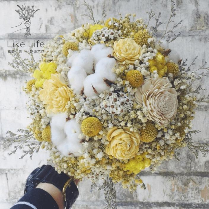 歐式圓型乾燥捧花-自然星球黃色系