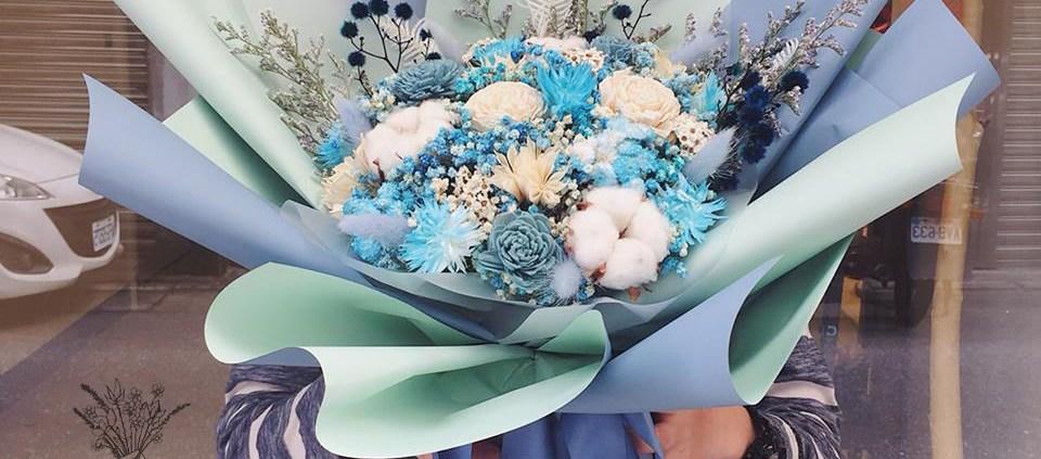 巨型乾燥花束藍色封面,巨大行乾燥花束台北