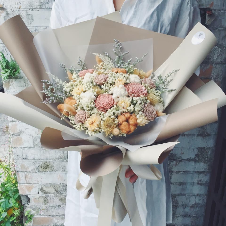 巨大型乾燥花束大地色封面,台北巨大花束