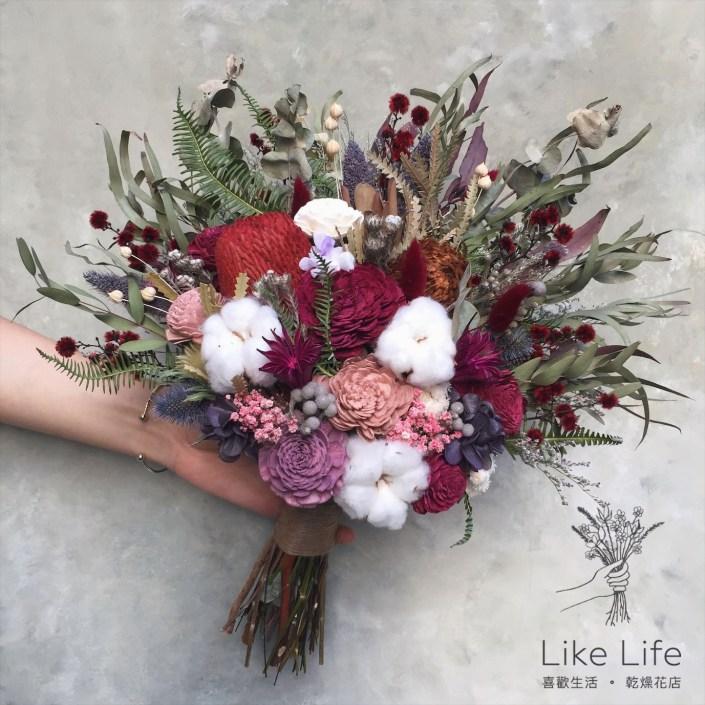 韓式扇型手綁乾燥捧花-扇形自然紅