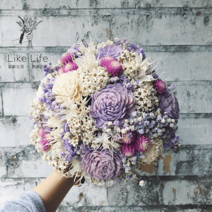 歐式圓型乾燥捧花-自然星球紫