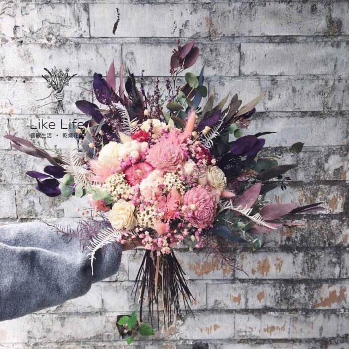 韓式長型手綁乾燥捧花-個性紫粉色