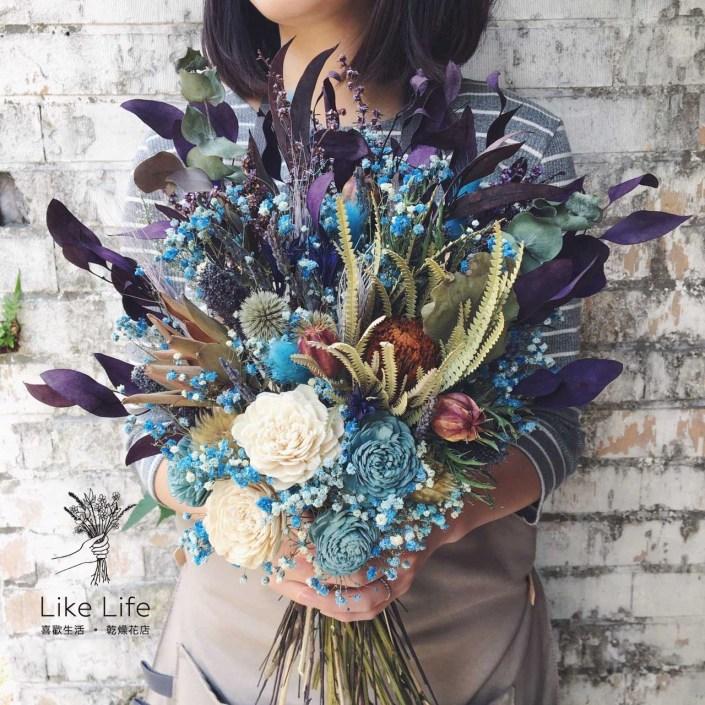 韓式扇型手綁乾燥捧花-自然紫藍色系