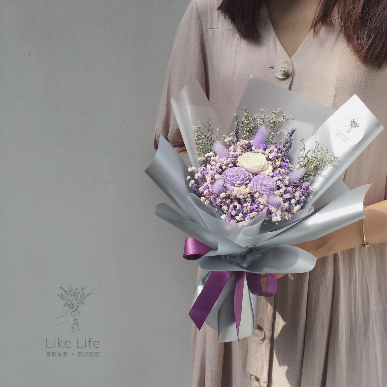 韓式包裝乾燥花束紫色手拿