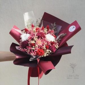 情人節乾燥花束紅色手拿