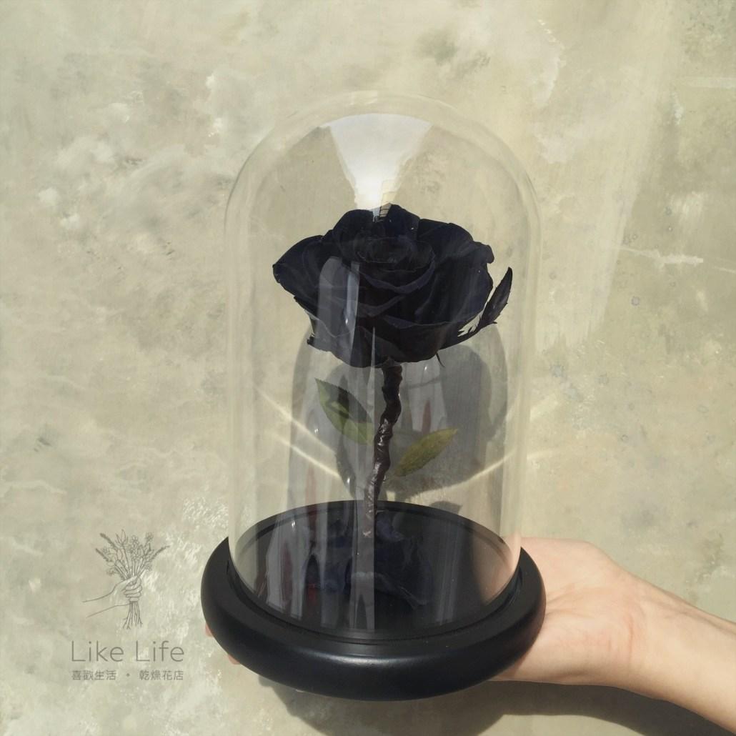 永生玫瑰花玻璃罩黑色手拿