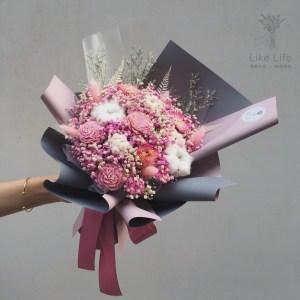 母親節乾燥花束包裝粉紅色