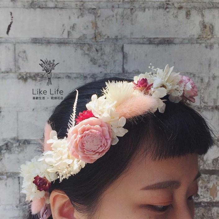 新娘花圈新娘花冠-客製款白粉色系