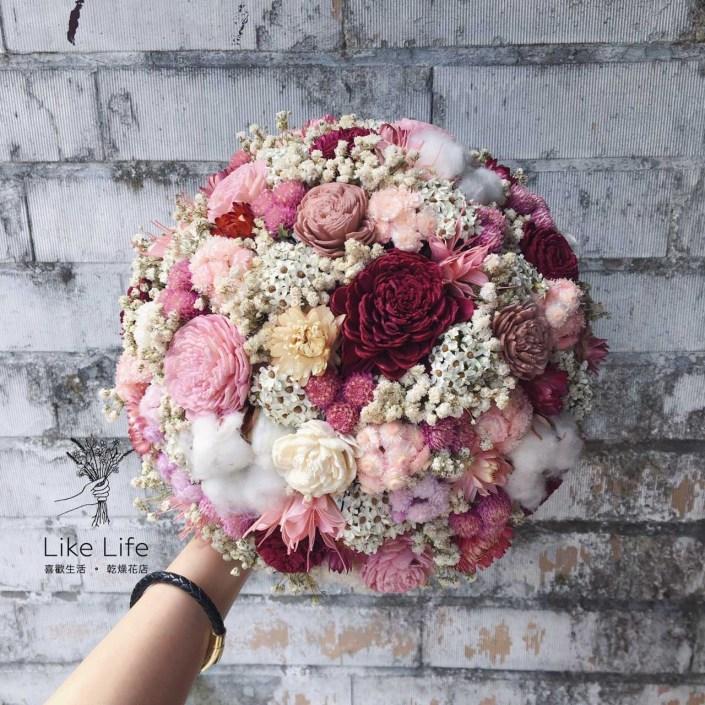 歐式圓型乾燥捧花-木棉花紅粉色