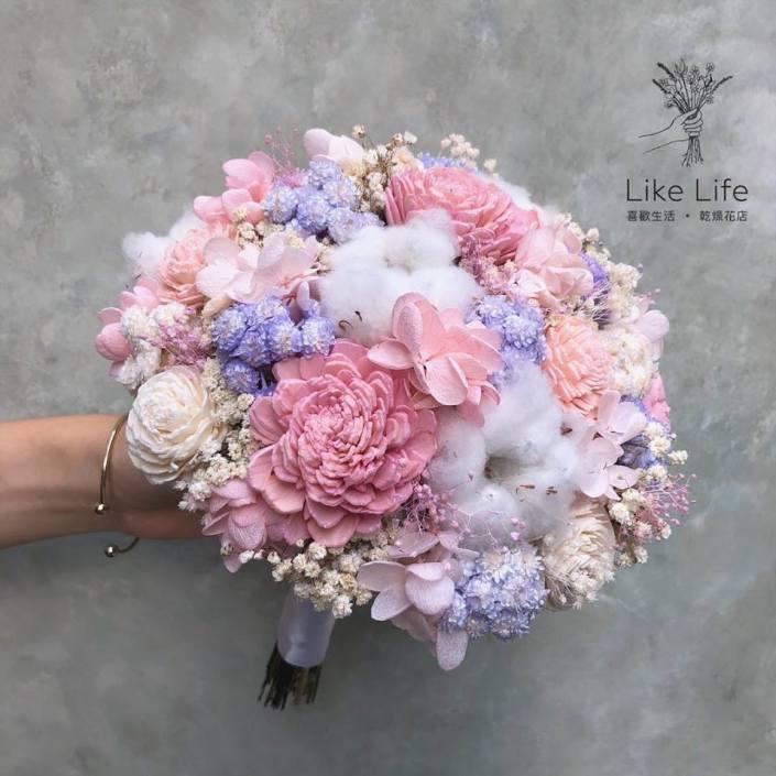 歐式圓型永生花新娘捧花-馬卡龍色