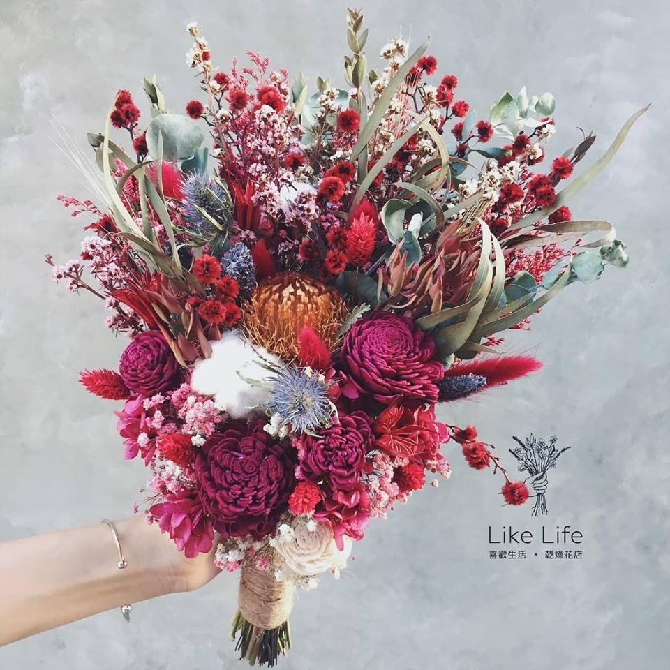 韓式長型手綁乾燥捧花-喜氣紅