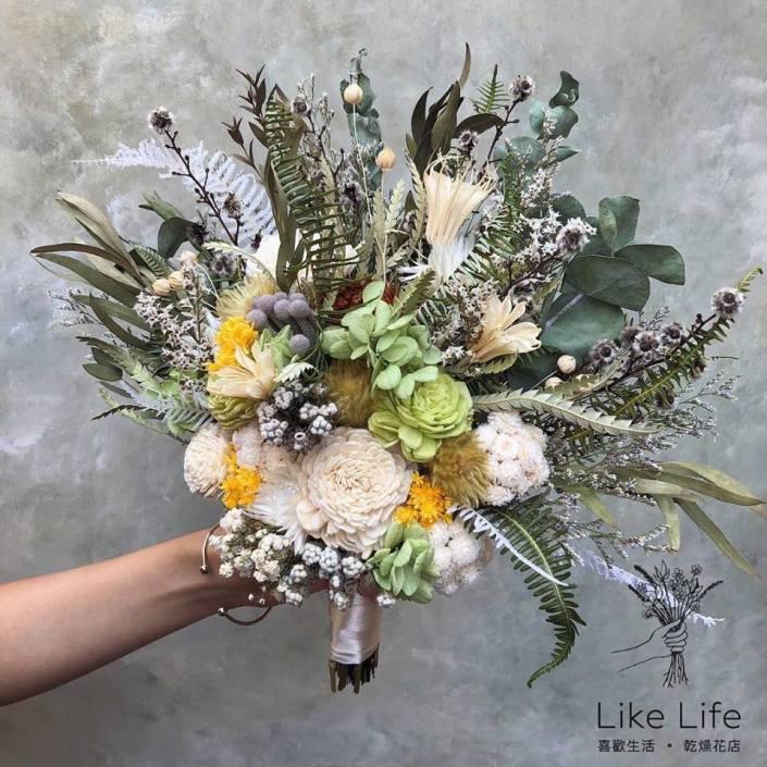 韓式長型手綁乾燥捧花-自然綠