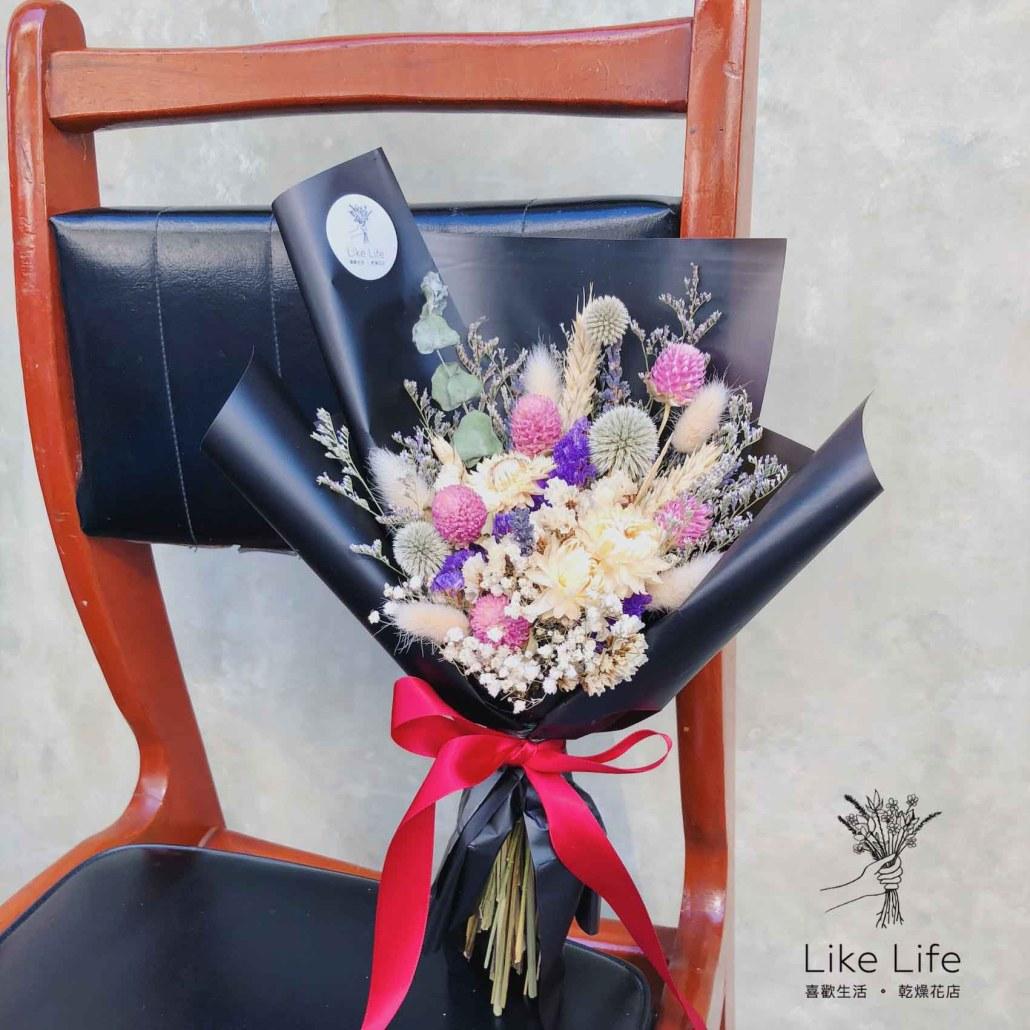 台北乾燥花束教學課程,黑色包裝乾燥花束