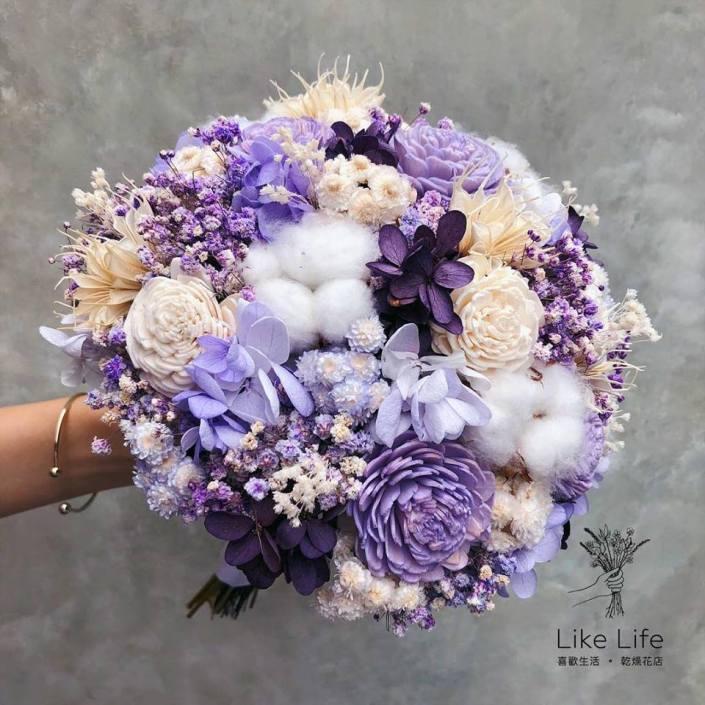 歐式圓型永生花新娘捧花-夢幻紫色