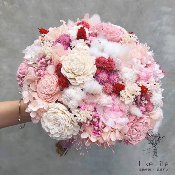 歐式圓型永生花新娘捧花-夢幻粉色