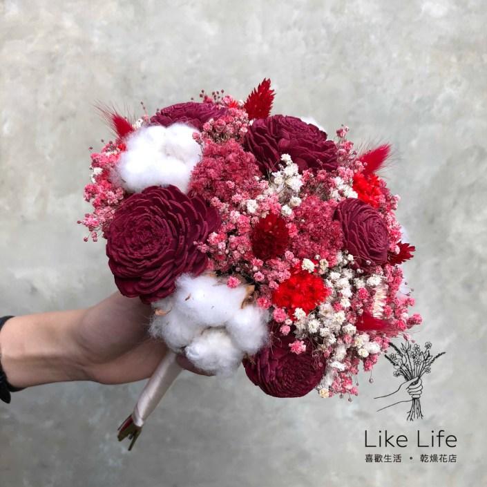 歐式圓型乾燥花新娘捧花-滿天星紅