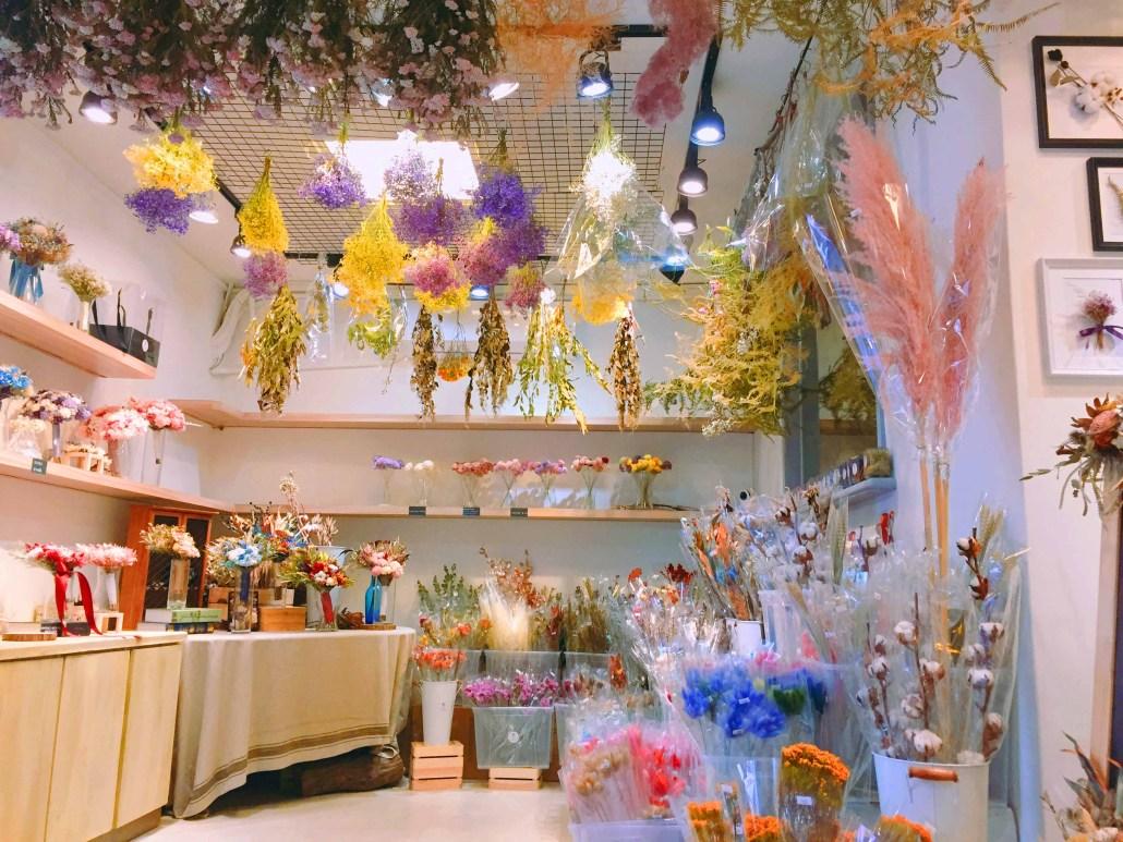 喜歡生活乾燥花店店內畫面,乾燥花,永生花材推薦