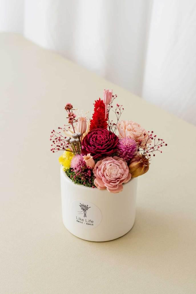 乾燥花盆栽中型紅色側面,乾燥花盆栽推薦台北