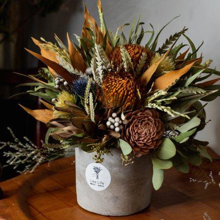 開幕乾燥花盆栽大地色側面,乾燥花盆栽推薦台北