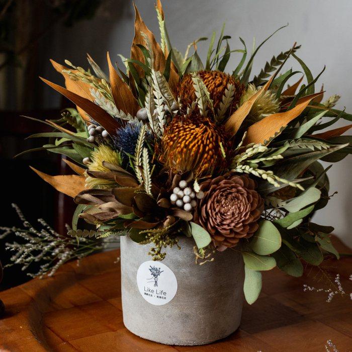 乾燥花盆栽大地色側面,乾燥花盆栽推薦台北