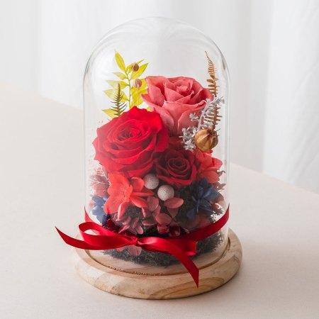 永生花玻璃盅罩-永生花大型紅封面