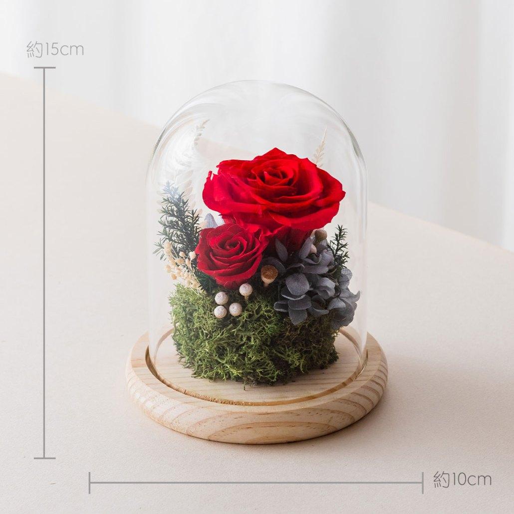 永生花玻璃鐘罩-紅色尺寸照片