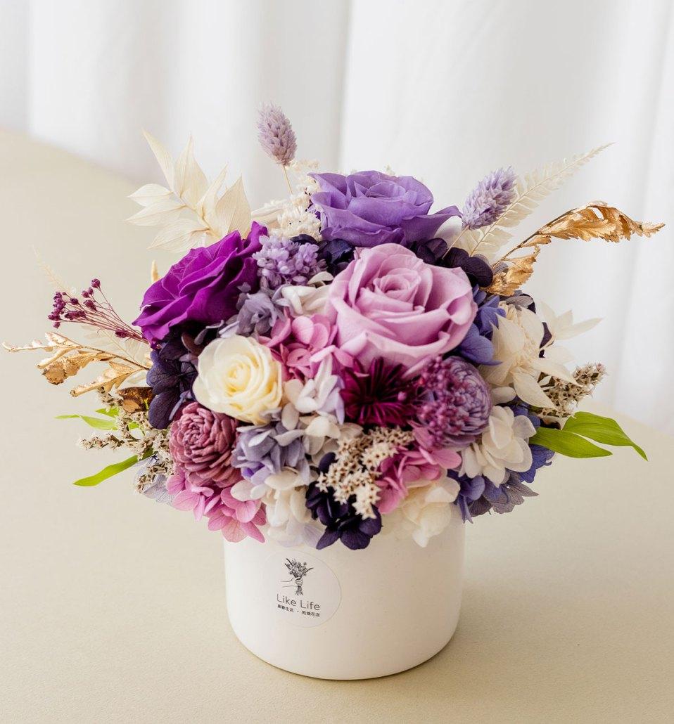 開幕開業永生花盆栽紫色側面,永生花盆栽推薦台北