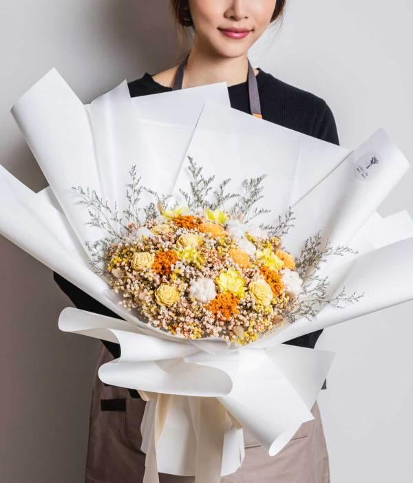永生花束,大型永生花束照片黃色