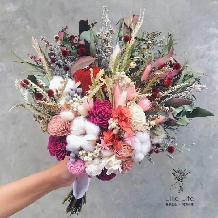 韓式長型手綁乾燥捧花-粉紅配色
