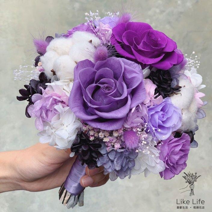 永生花新娘捧花,紫色系永生花捧花