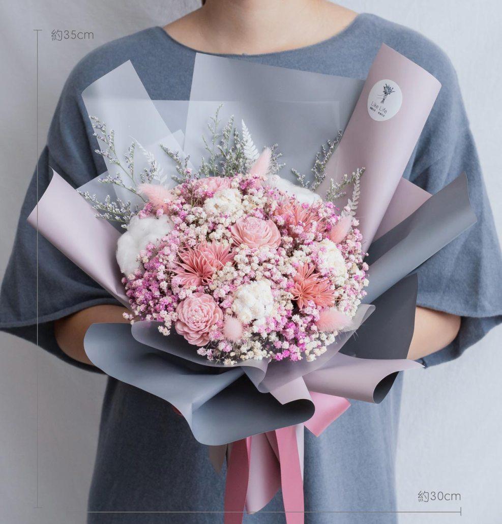 求婚乾燥花束推薦,台北求婚玫瑰乾燥花束粉色,喜歡生活乾燥花店公分
