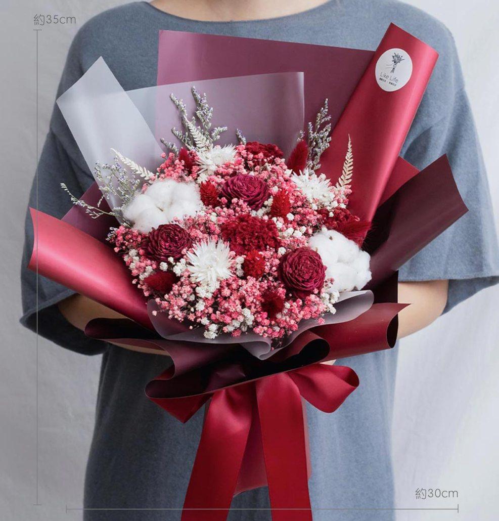 求婚乾燥花束推薦,台北求婚玫瑰乾燥花束紅色,喜歡生活乾燥花店公分