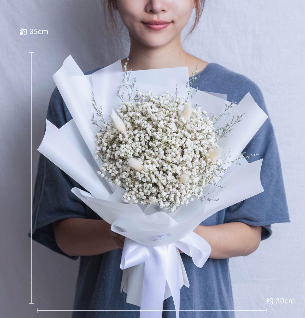 畢業乾燥花束推薦,白色滿天星畢業花束,台北喜歡生活乾燥花店