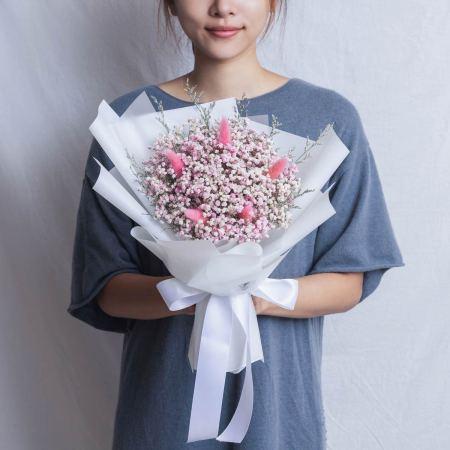 畢業花束推薦台北,滿天星粉色乾燥花畢業花束,台北喜歡生活乾燥花店封面