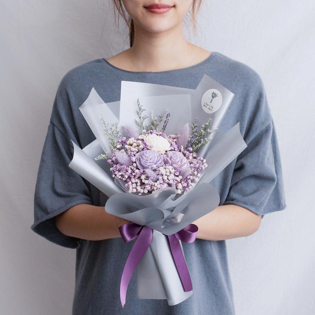紫色玫瑰乾燥花束,玫瑰乾燥花束紫色手拿,台北喜歡生活乾燥花店