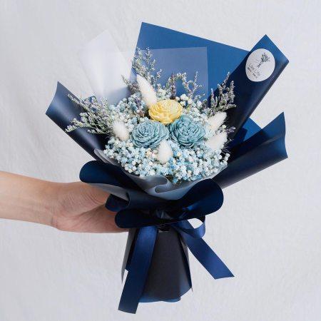 藍色玫瑰乾燥花束,玫瑰乾燥花束藍色封面,台北喜歡生活乾燥花店