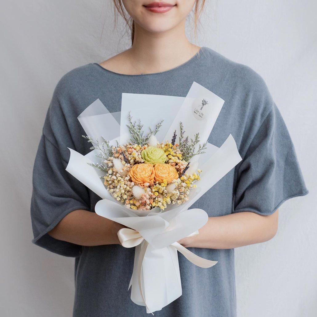 黃色玫瑰乾燥花束,玫瑰乾燥花束黃色手拿,台北喜歡生活乾燥花店