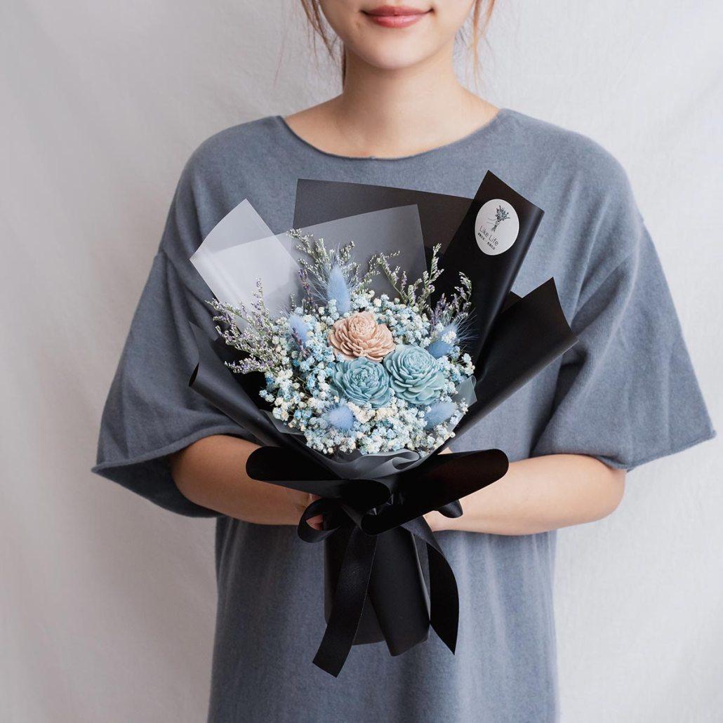 黑色玫瑰乾燥花束,玫瑰乾燥花束黑色手拿,台北喜歡生活乾燥花店