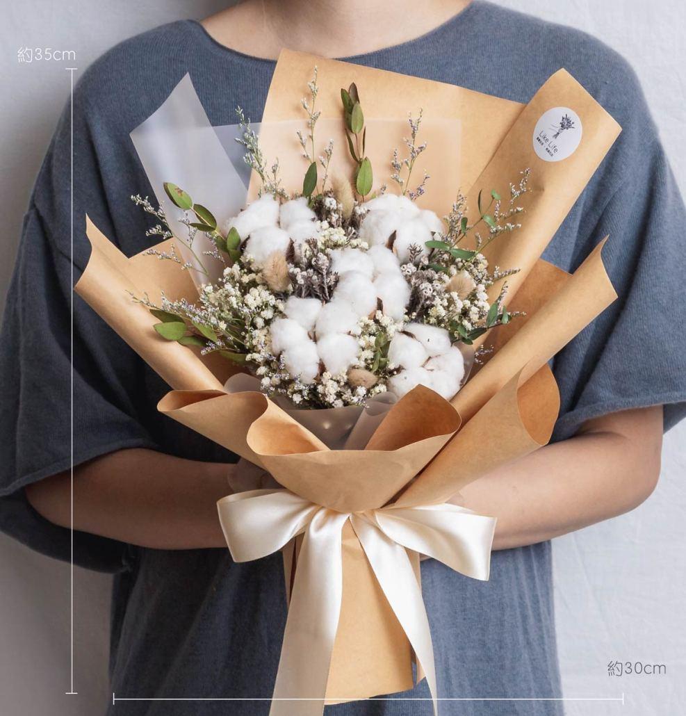 求婚花束推薦台北,棉花乾燥花束,台北求婚花束推薦,喜歡生活乾燥花店公分照