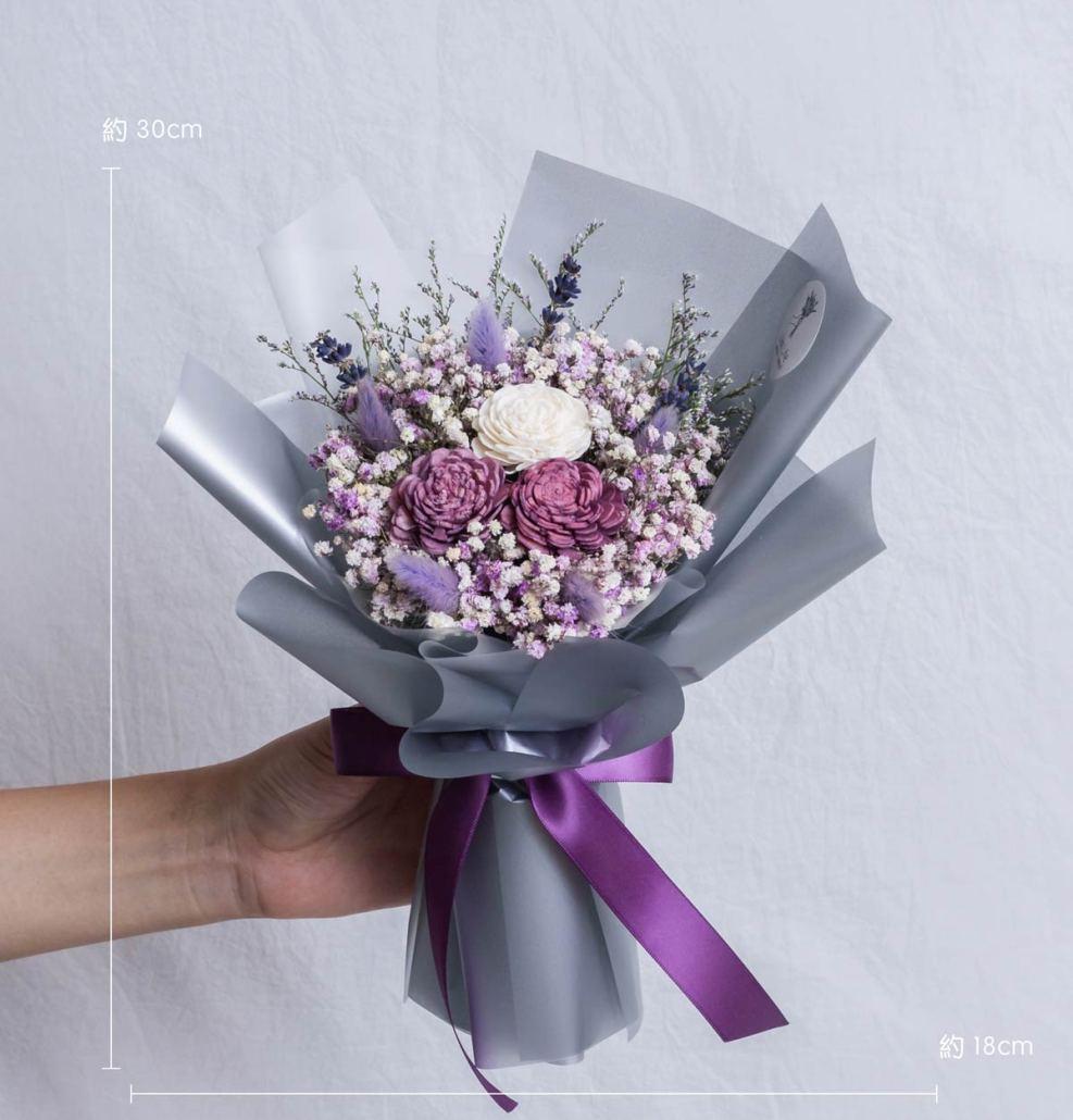 紫色玫瑰乾燥花束公分,台北喜歡生活乾燥花店,中型紫色玫瑰乾燥花束w