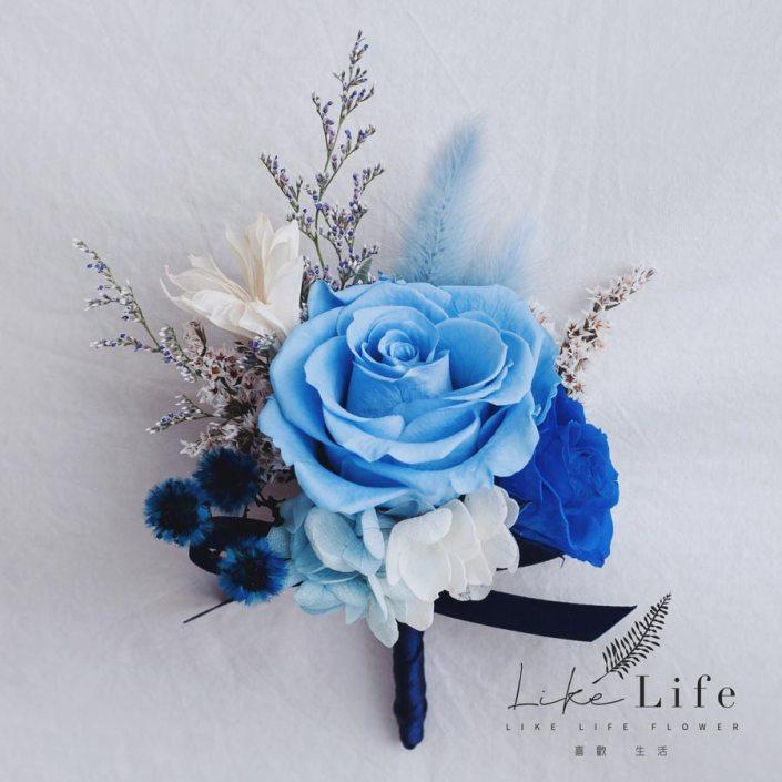 永生花胸花藍色,主婚人胸花,新郎胸花