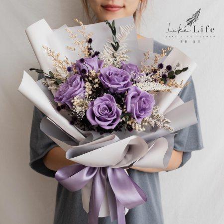 永生花束紫色,永生花束台北紫色推薦,台北紫色永生花束