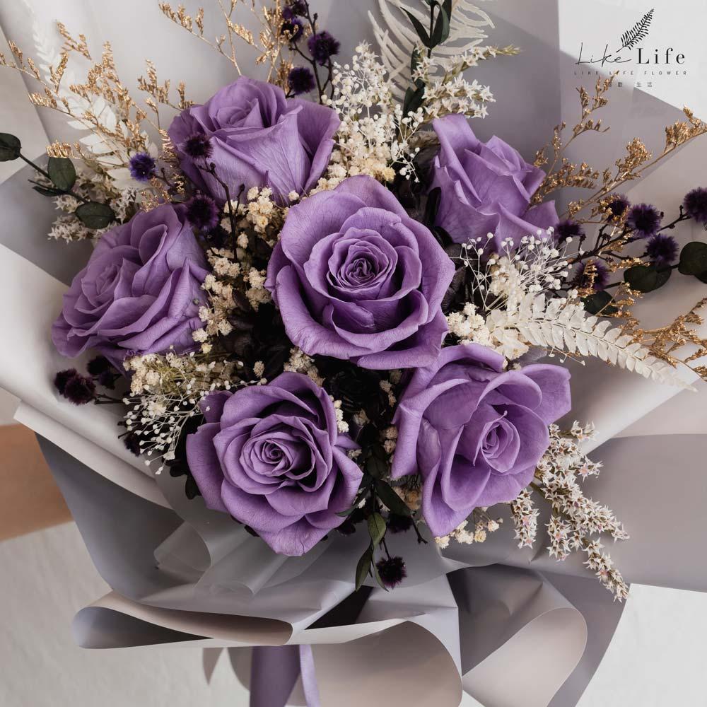 永生花束紫色特寫,紫色永生玫瑰花束,台北永生花束
