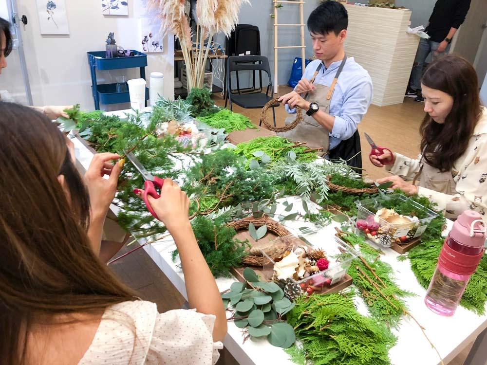 聖誕花圈花藝教學-喜歡生活乾燥花店