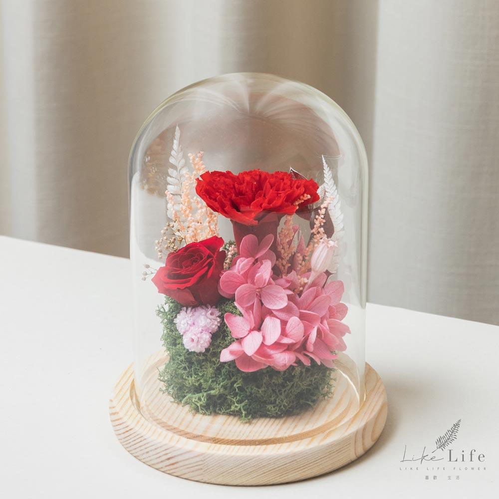 母親節永生花玻璃罩紅色永生花康乃馨