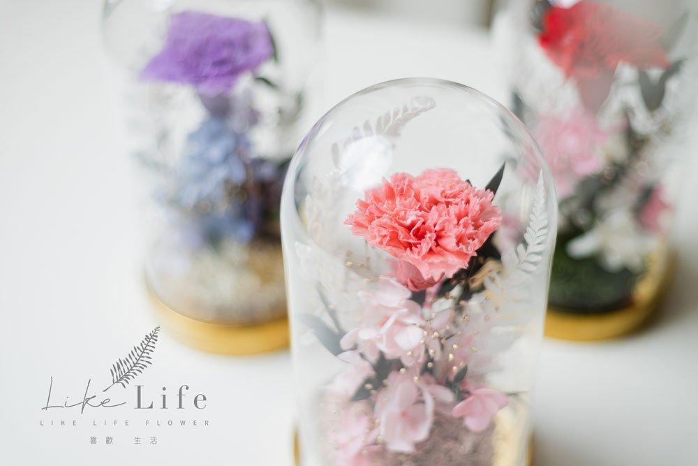 母親節永生花康乃馨花束粉色,永生花康乃馨玻璃罩推薦近照