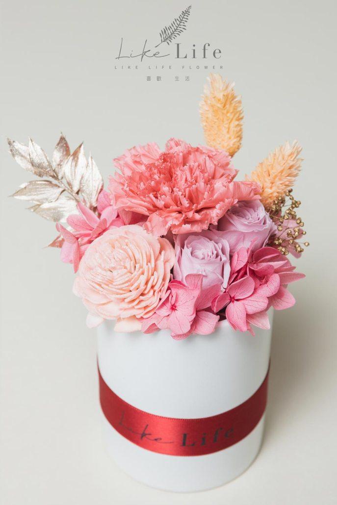 母親節永生玫瑰花盆栽粉色永生玫瑰花乾燥花