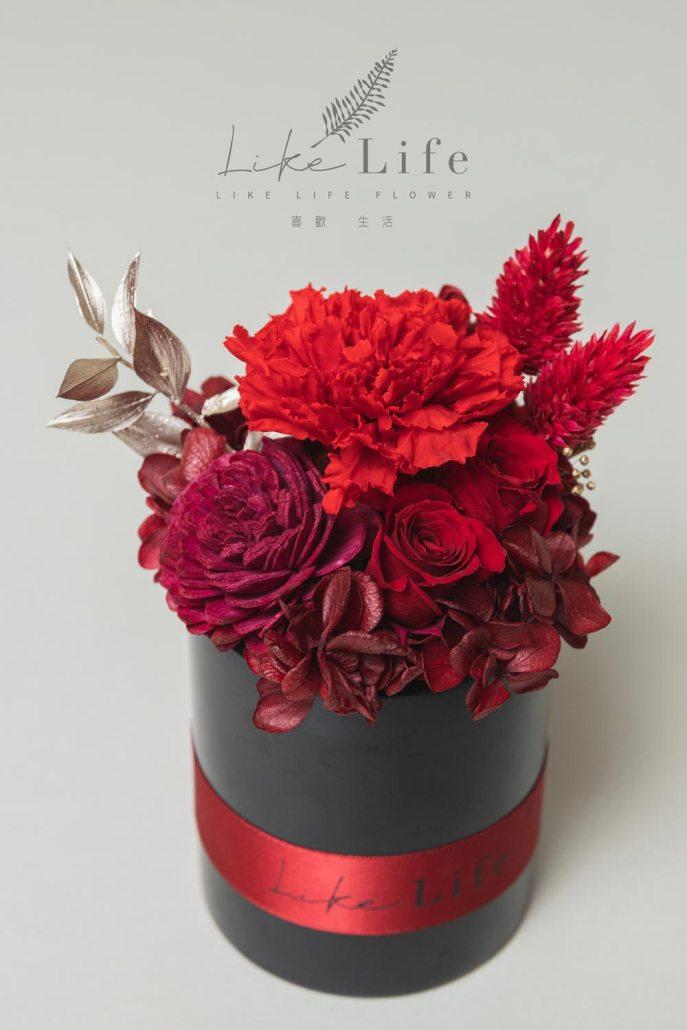 母親節永生玫瑰花盆栽紅色永生玫瑰花乾燥花