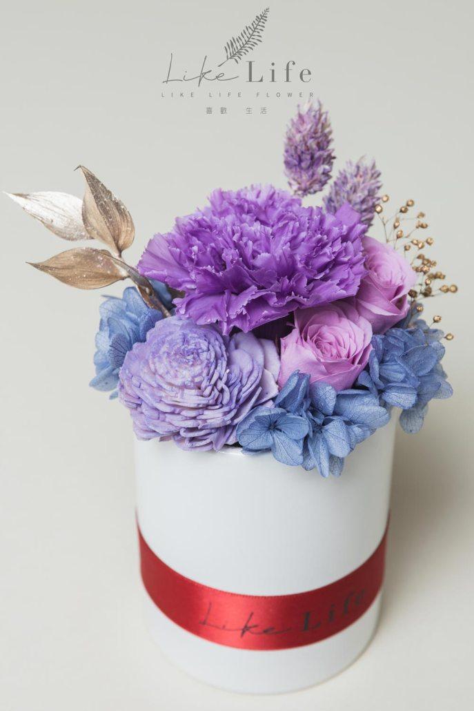 母親節永生玫瑰花盆栽紫色永生玫瑰花乾燥花
