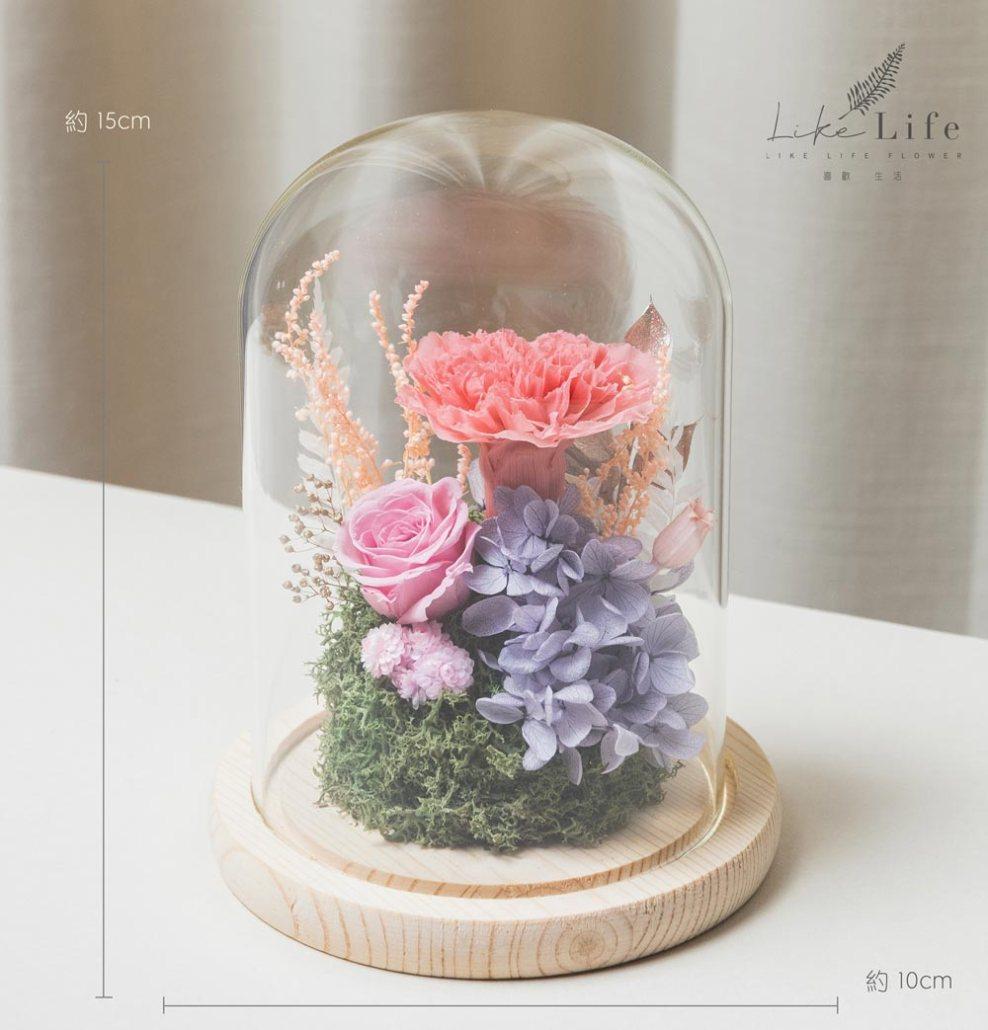 母親節康乃馨花束,粉紅色永生玫瑰花玻璃罩盆栽